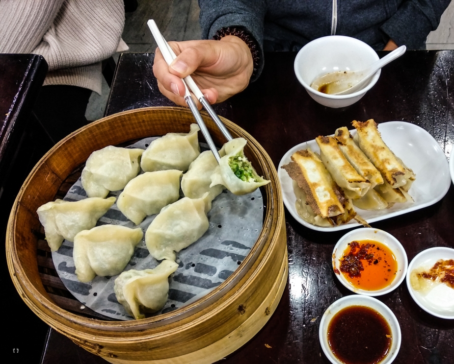 Steamed Vegetable and Pork Dumplings and pan-fried Pork Dumplings